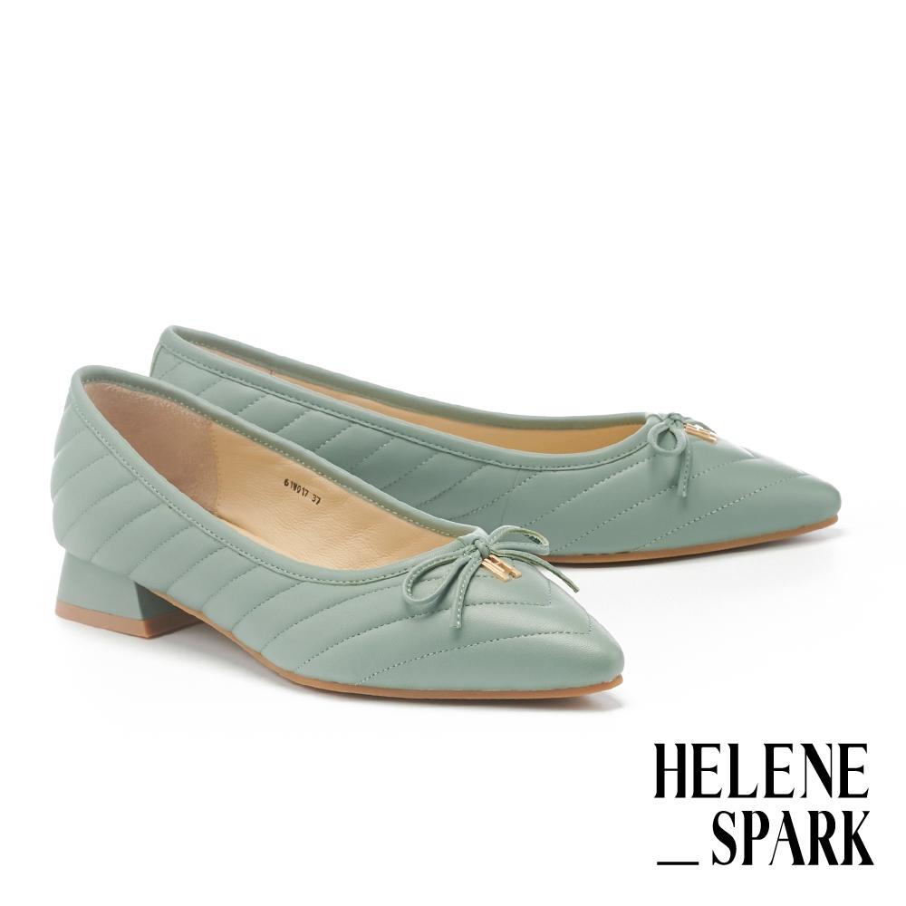 低跟鞋 HELENE SPARK 簡約H字LOGO蝴蝶結全真皮尖頭低跟鞋-綠