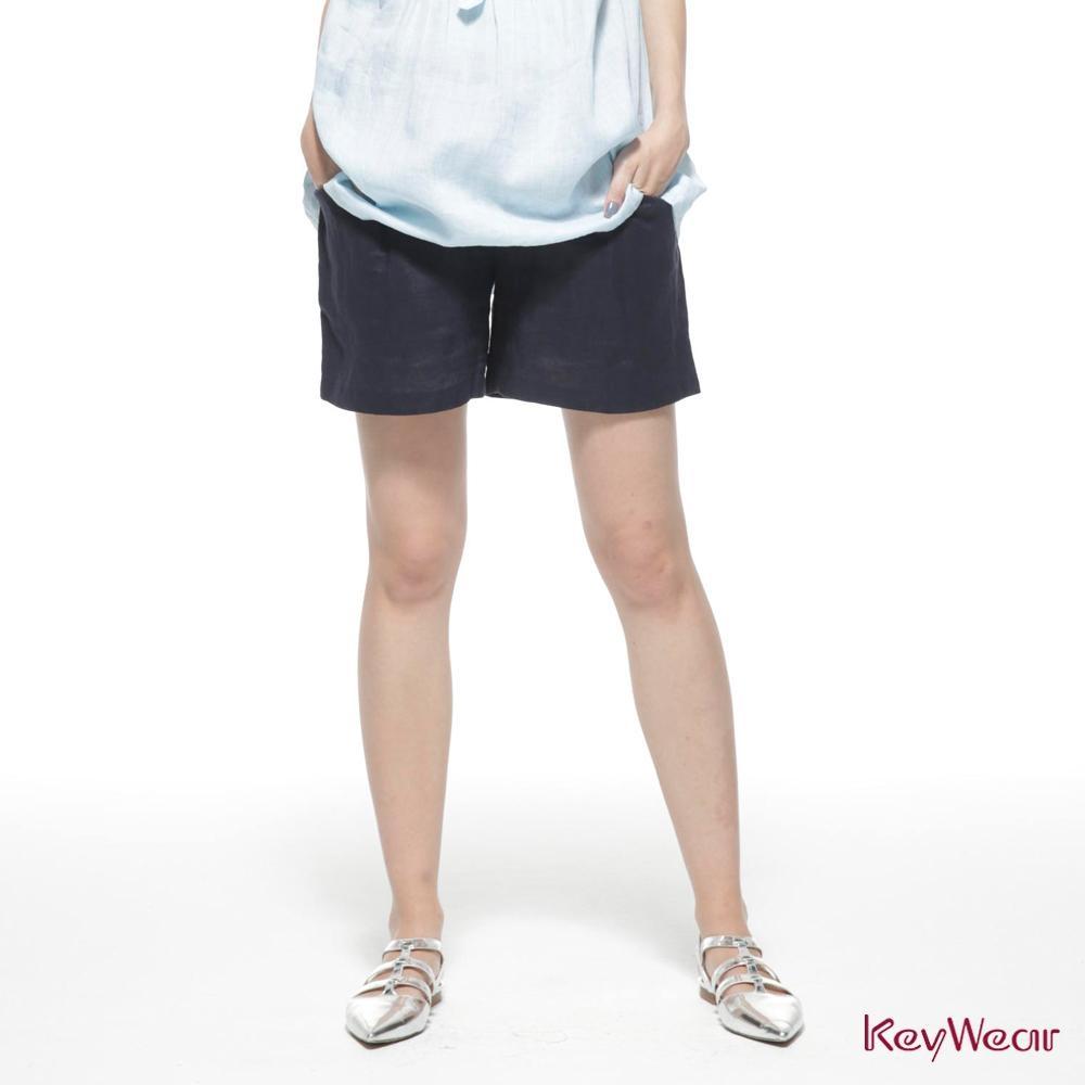 KeyWear奇威名品    100%苧麻立體小活褶短褲-深藍色