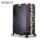 Bogazy 翱翔星際 20吋鋁框拉絲紋行李箱(黑墨金)
