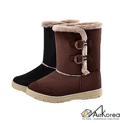 【AIRKOREA韓國空運】韓國流行款雙釦飾內鋪毛雪靴-兩色