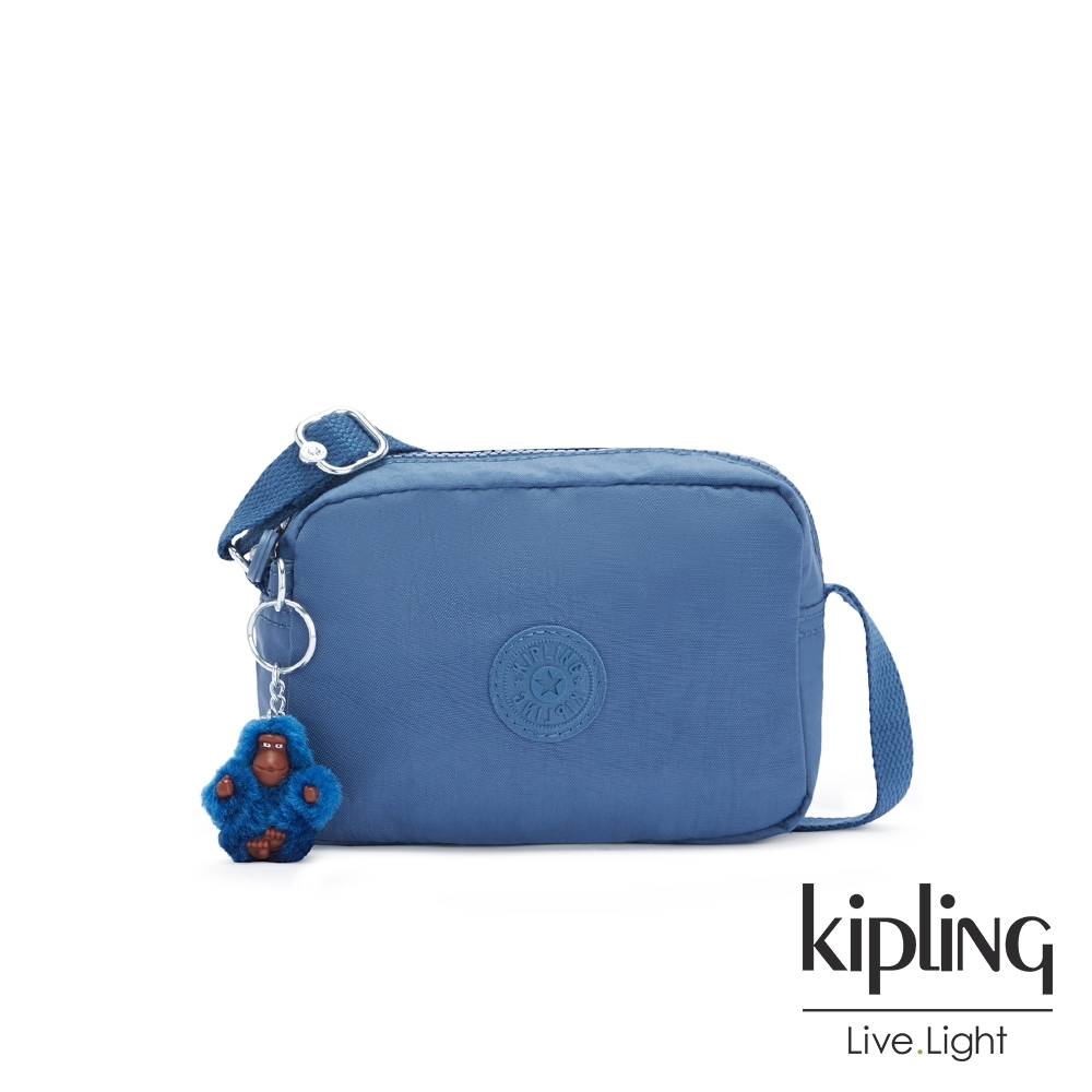 Kipling 優雅天穹藍簡約造型拉鍊方包-BETHANY