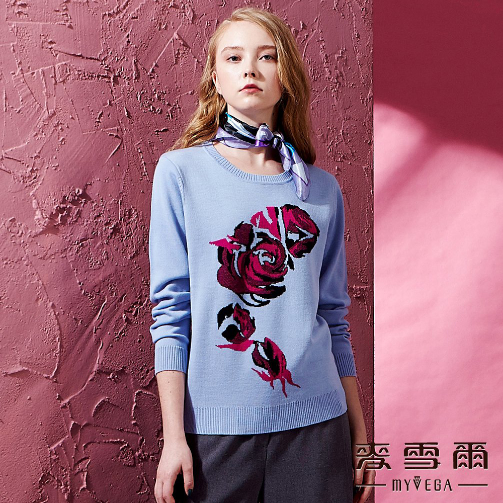 【麥雪爾】義大利羊毛玫瑰緹花針織衫