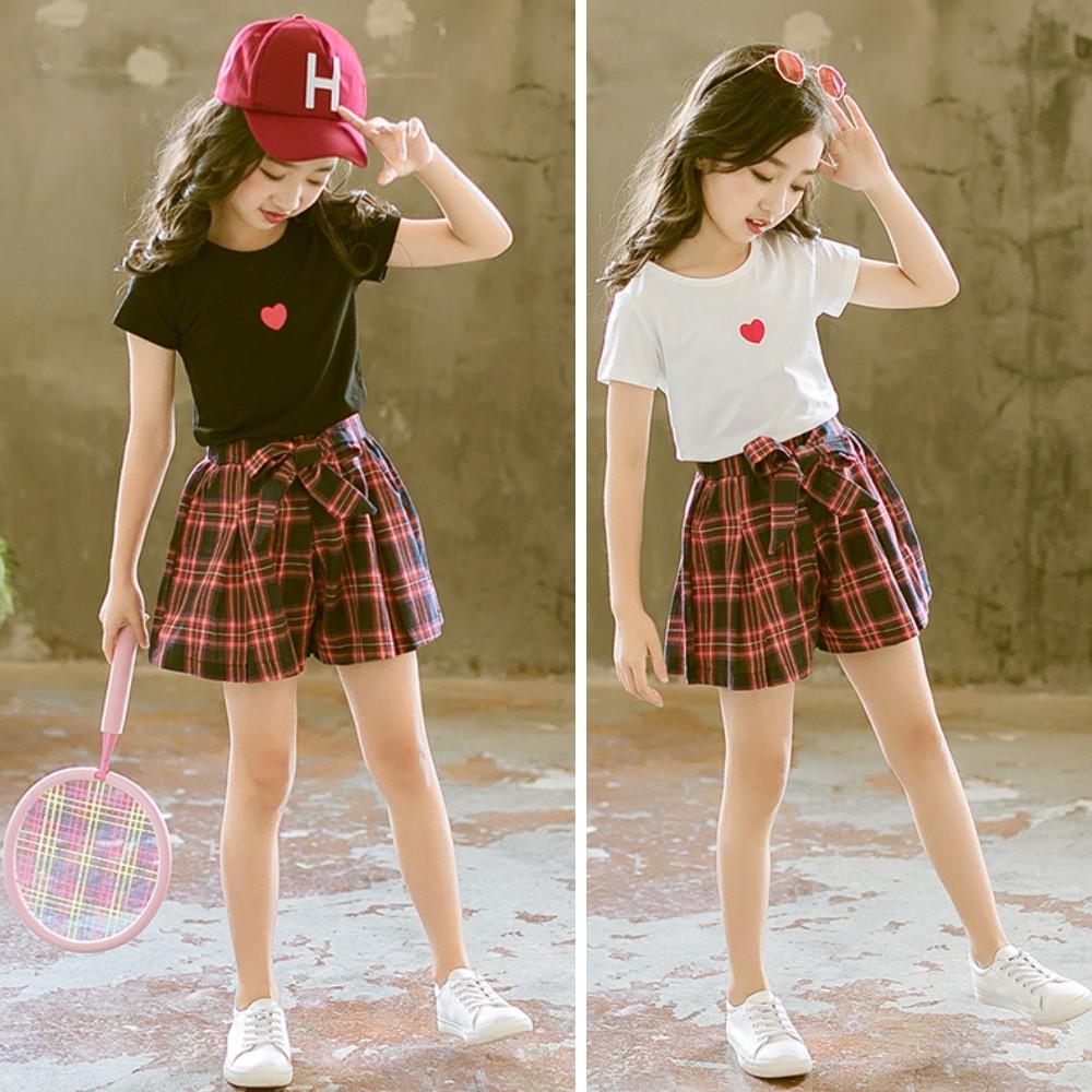 小衣衫童裝  中大童小紅心短袖T恤紅格子短褲套裝1080220