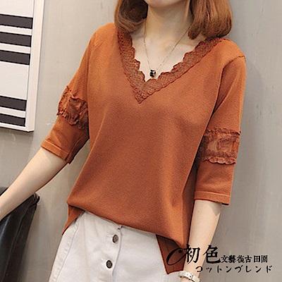 純色蕾絲冰絲麻針織上衣-共4色(F可選)   初色