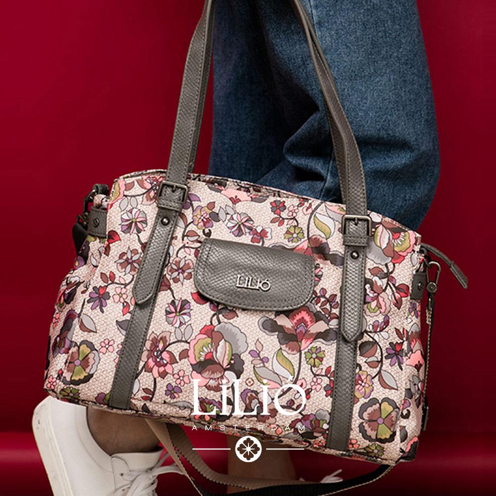 旅行肩背手提袋-英倫風印花經典系列-古典藕 - LiliO