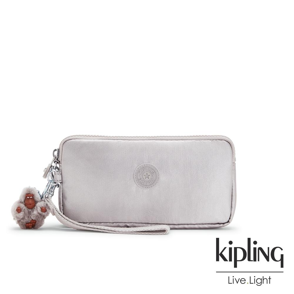 Kipling 知性光澤銀灰手拿包-LOWIE