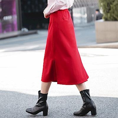 兩穿式不規則開衩設計中長包裙-OB大尺碼