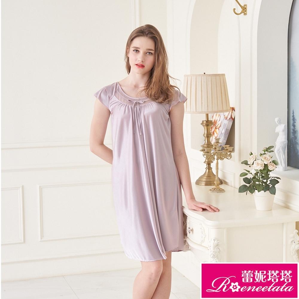 睡衣 彈性珍珠絲質 居家連身睡衣(95001-19)紫銀灰-台灣製造 蕾妮塔塔