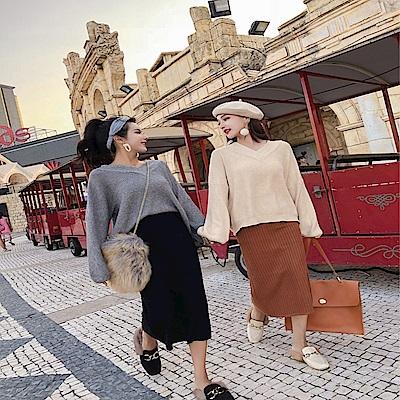 DABI 韓系領針織上衣修身開叉針織裙套裝長袖裙裝