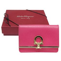 Salvatore Ferragamo 壓釦式防刮牛皮名片/零錢包-粉紅色