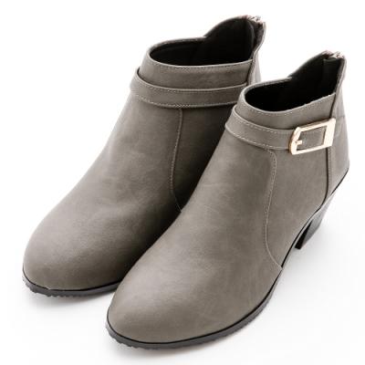 River&Moon短靴-方金扣尖圓楦粗跟短靴-灰綠
