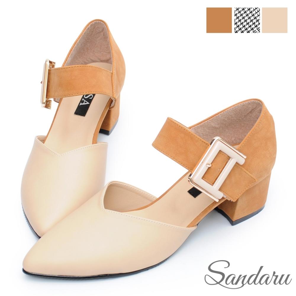 山打努SANDARU-尖頭鞋 時尚大金扣千鳥格低跟鞋-米棕