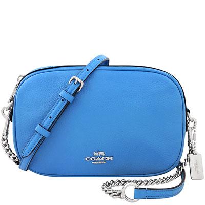 COACH 水藍色荔枝紋皮革鍊帶斜背包