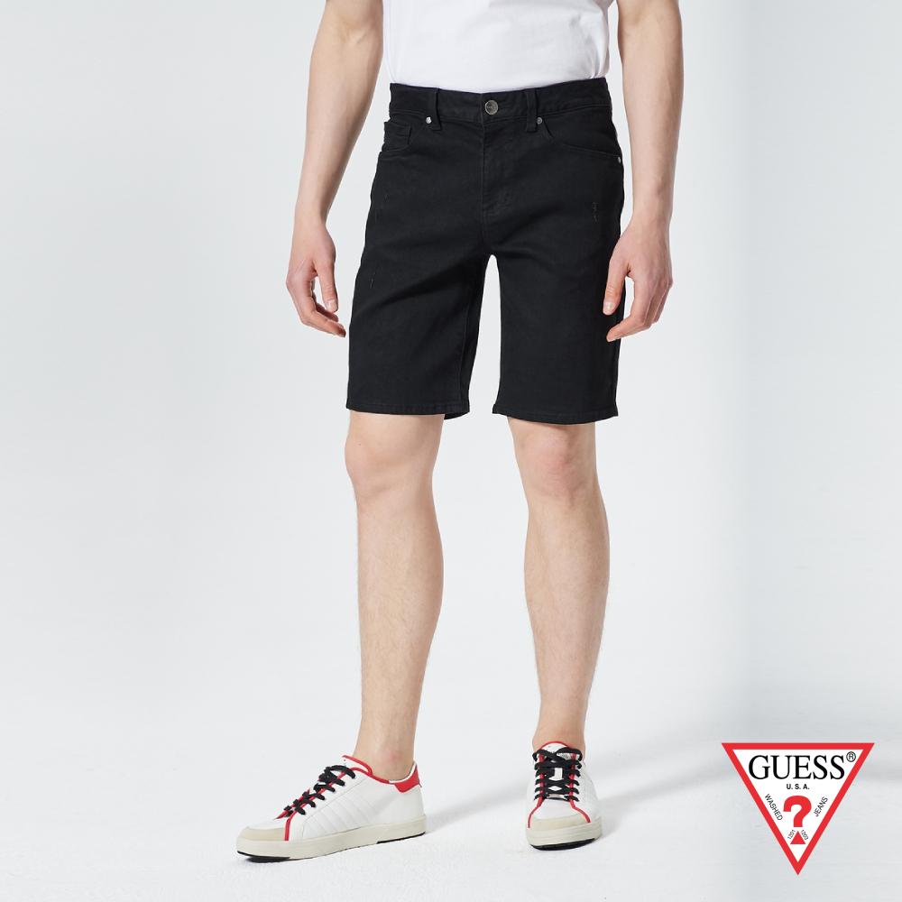 GUESS-男裝-簡約直筒牛仔短褲-黑 原價3590