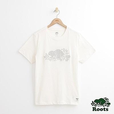 Roots 男裝-刺繡海狸短袖T恤-白色