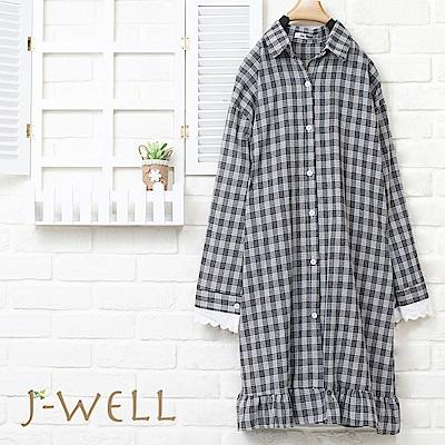 J-WELL 格紋小花袖長版襯衫洋