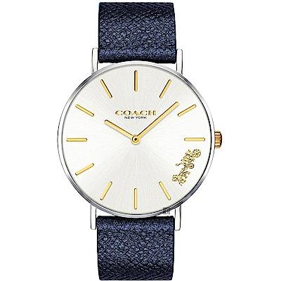 Coach Delancey 紐約馬車石英手錶(14503156)-銀x藍色錶帶/36mm