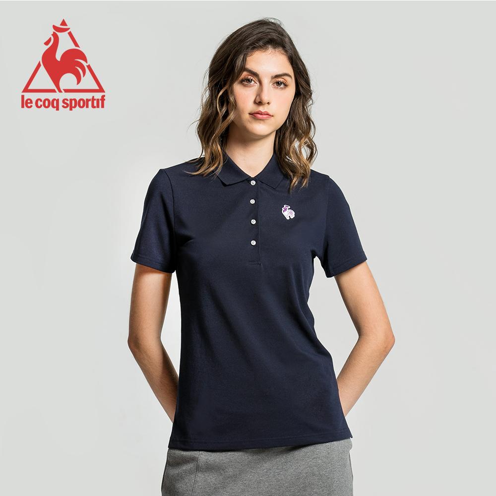 le coq sportif 法國公雞牌經典多色復古短袖POLO衫 女-丈青