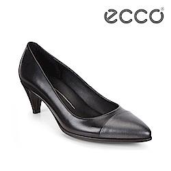 ECCO SHAPE 45 時尚尖頭拼色淺口高跟鞋 女-黑