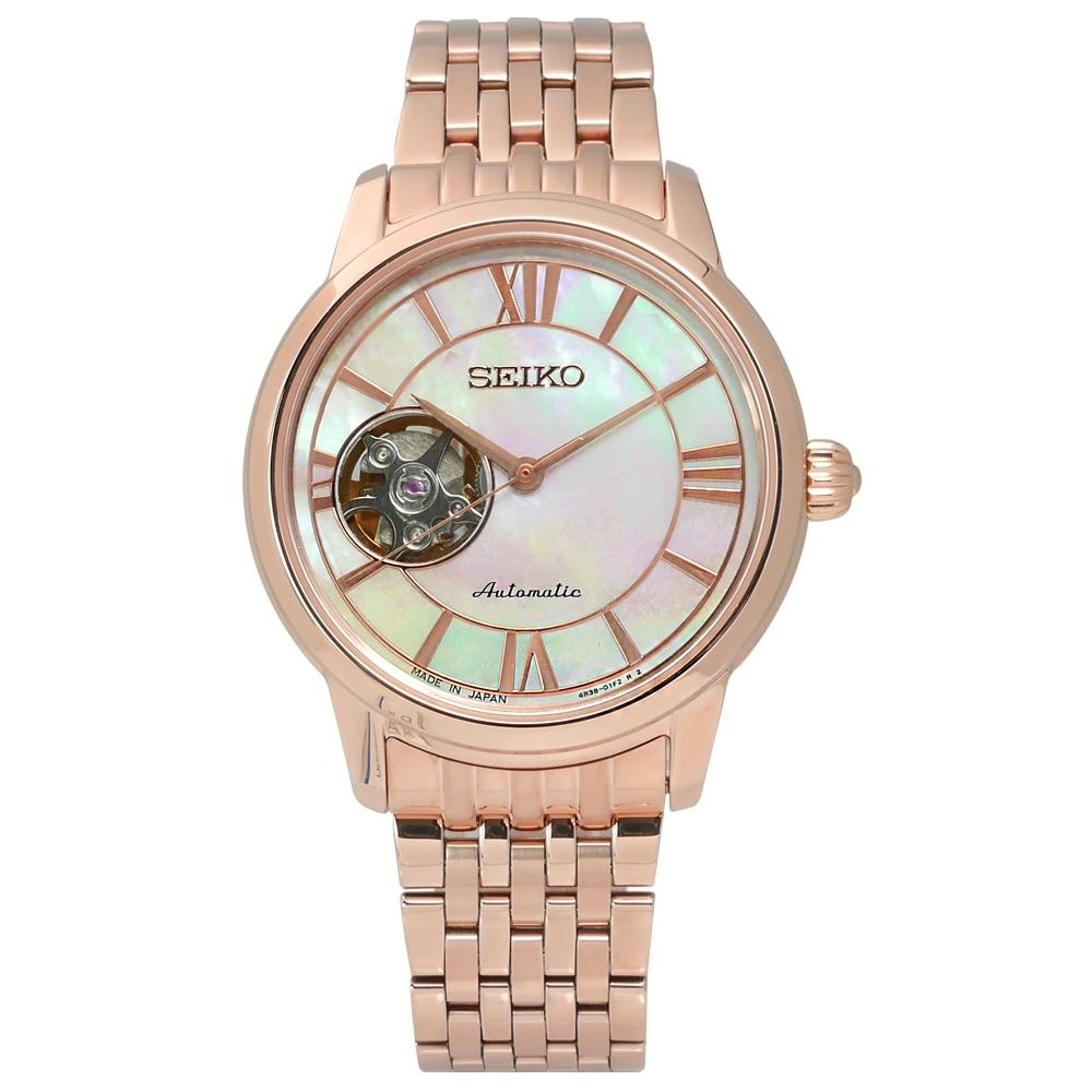 SEIKO 精工 Presage 羅馬 優雅 不鏽鋼機械錶-白x鍍玫瑰金/34mm