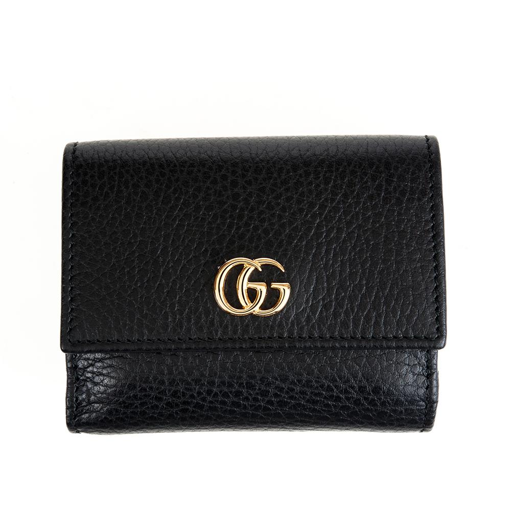 GUCCI 經典GG Marmont系列金屬LOGO牛皮暗釦三折短夾 (黑色)GUCCI