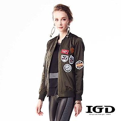 IGD英格麗 個性拼貼布章綁帶轟炸機夾克外套-軍綠