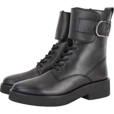 FURLA Greta 馬蹄釦牛皮繫帶短筒軍靴(黑色)