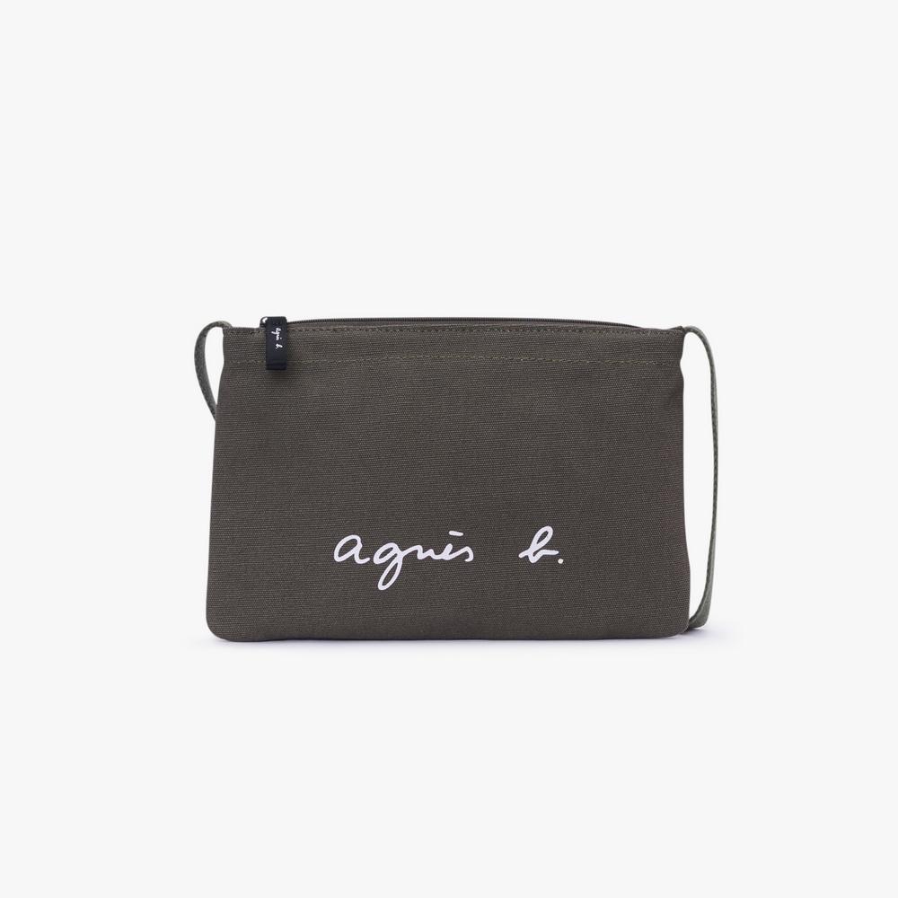 agnes b. Voyage 經典logo帆布肩背包(綠)