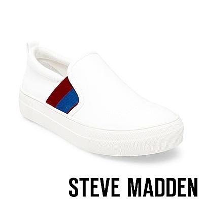 STEVE MADDEN-GREYSON 時尚運動厚底懶人鞋-白色