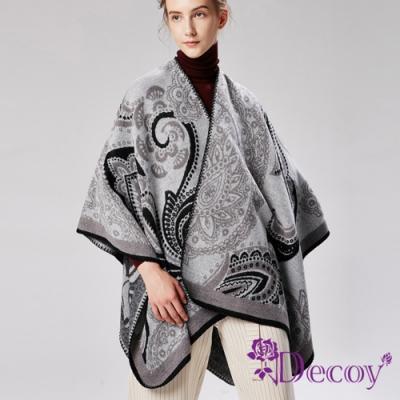 Decoy 纏綿思想 圖騰加大保暖斗篷式披肩 灰