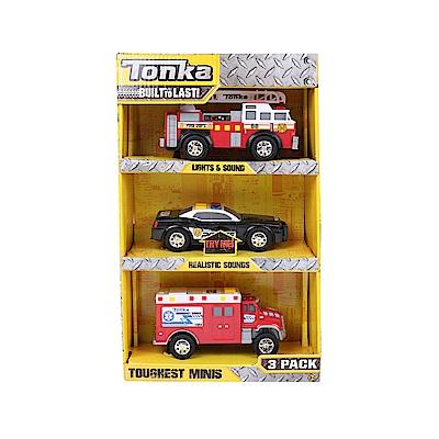 Tonka 小型工程車系列 消防車+警車+救護車-三入(3Y+)