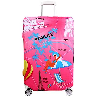 Starke 適用23-26吋高彈性行李箱套 -粉紅世界