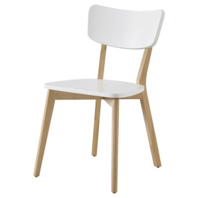 文創集 貝洛卡北歐風雙色實木餐椅2入組(純粹木語)-54x52x78cm免組