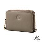 A.S.O機能休閒 法式休閒智慧隔層細紋零錢包-橄欖