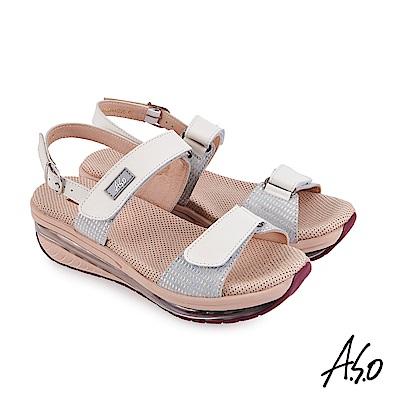 A.S.O 戶外健走 超能力氣墊牛皮金箔拼接休閒涼鞋-白