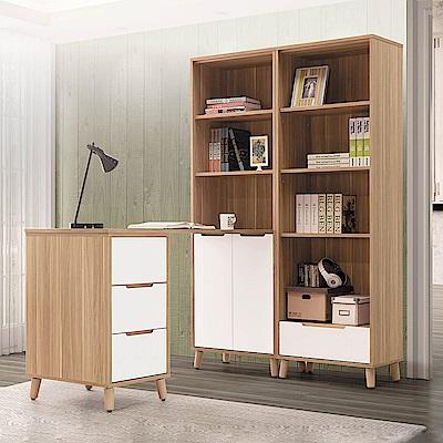 H&D 肯詩烤白L型書桌櫥組