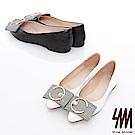 SM-真皮款-優雅搶眼飾釦尖頭娃娃鞋2色