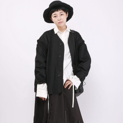 設計所在Style-暗黑系圓領插肩袖外套時尚寬鬆顯瘦上衣