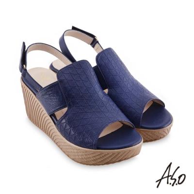 A.S.O 時尚流行 亮眼魅力飽和亮彩風格厚底涼鞋-藍