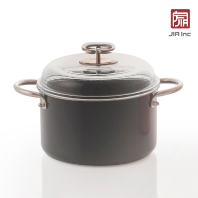 JIA Inc. 品家家品 虹彩鋼 琺瑯雙耳鍋20cm(黑色)