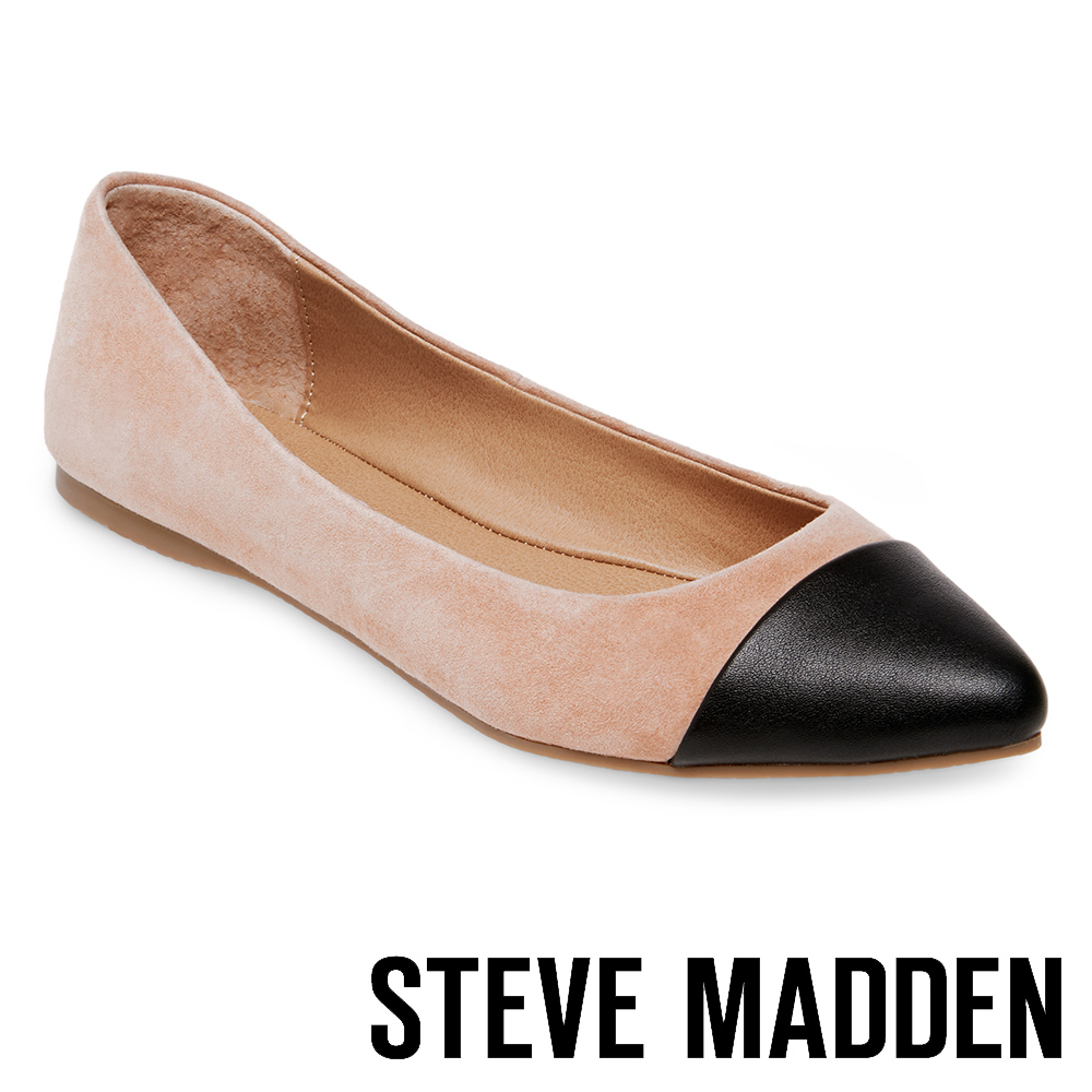 STEVE MADDEN DELANCY 麂皮尖頭撞色平底鞋-絨粉