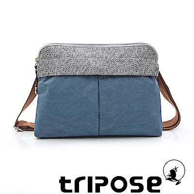 tripose 漫遊系列 岩紋x微皺尼龍貼身斜背包 水藍