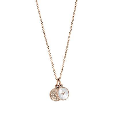 Emporio Armani亞曼尼 品牌水鑽吊飾珍珠母貝項鍊 玫瑰金