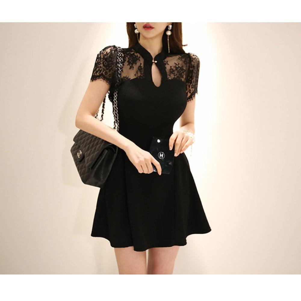 IMStyle 名媛典雅蕾絲連身洋裝(黑色)