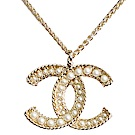 CHANEL AB0659 經典大雙C LOGO立體圓珠風格浮雕造型項鍊(金)