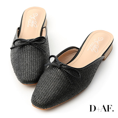 D+AF 涼夏品味.小蝴蝶結編織面穆勒鞋*黑