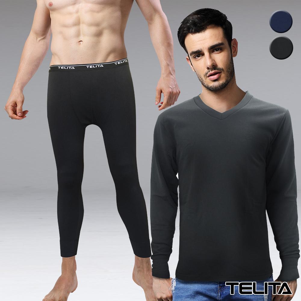 刷毛蓄熱V領保暖衣褲組(超值4件組)TELITA