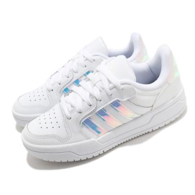 adidas 休閒鞋 Entrap 炫彩 彩色光澤 女鞋 愛迪達 基本款 白鞋 百搭款 球鞋穿搭 白 銀 FY6017
