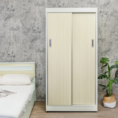 Birdie南亞塑鋼-3.2尺拉門/推門塑鋼衣櫃(黃橡木色)-96x61x200cm