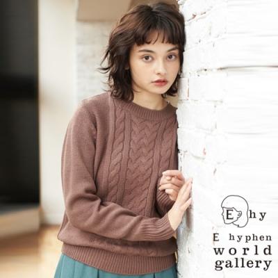 E hyphen 基本款麻花編織圓領針織衫